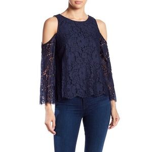 NWT $238 Joie Abay Cold Shoulder Lace Blouse Top